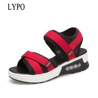 Wholesale small yards - wholesale Thick-soled Sandals Women Hook&Loop 2018 Summer New Joker Open Toe Increase Swings shoes Small yards High-heeled Sandals