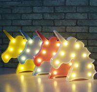 ingrosso lampade animali per bambini-Carino Led Night Light Animal Marquee Lamps On Wall per bambini Party Bedroom Decorazioni di Natale Kids Ro