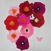 ingrosso artigianato artificiale-2018 Giant Crepe Paper Artificial Flowers 9PCS + Farfalla Decorazioni di nozze Baby Nursery Windows Visualizza artigianato fatti a mano su misura