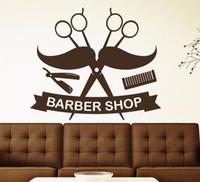 ingrosso scissor decorazione-Forbici Baffi Houseware Vinile Taglio di capelli adesivo da parete per negozio di barbiere Parete del salone Decorazione della casa