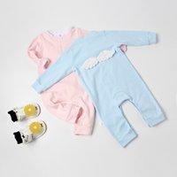 ingrosso pagliaccetto angelo-2018 Newborn Baby Girl Pagliaccetto a maniche lunghe in cotone Angel Wings tuta tuta abiti