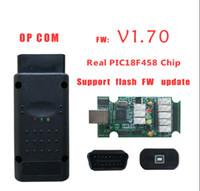 tarayıcı için obd2 kablosu toptan satış-PIC18F458 Chip ile OP-COM OBD2 Kablosu En İyi Kalite OP COM V1.7 Son Sürüm Tarayıcı