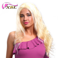Wholesale 22inch human hair weft online - XBLHair Brazilian Body Wave Hair Bundles Weave Blonde Full Color Non Remy Human Hair Extensions Inch