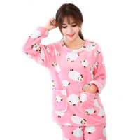 Wholesale Flannel Nightgowns Women - Winter Flannel Lady Women Pajama Sets Long Sleeve Christmas Floral Dot Print Pijama With Pocket Pants Hot Sell Online