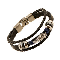klammern armbänder großhandel-Vintage Armbänder Großhandel Modeschmuck Anker Legierung Leder Armband Männer Casual Persönlichkeit PU Woven Perlen Armband Vintage Punk Brace