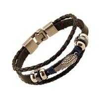 ancre d'alliage de bracelet achat en gros de-Vintage Bracelets En Gros Bijoux De Mode ancre Alliage En Cuir Bracelet Hommes Personnalité Occasionnelle PU Tissé Perlé Bracelet Vintage Punk Brace