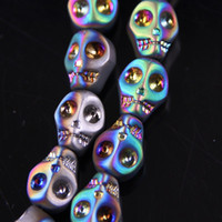 Wholesale skull bead crystals - 32 Colors 8pcs lot Crystal Skull Loose Beads DIY Jewelry Craft Suplies Arts and Crafts Home Room Decor Halloween Party Sypplies