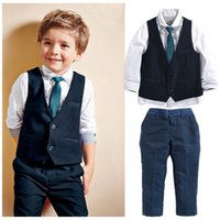 Wholesale baby waistcoat outfit - Handsome boys gentlemen suits 4pc set baby clothes Turndown collar shirt+Waistcoat+Trousers+Tie boys outfits for kids 2-7T B11