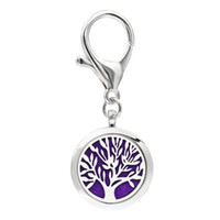 Wholesale Moon Pads - Tree of life paws Aroma Key Chain locket essential oil Locket Perfume Diffuser with Heart shape Lobster clasp Key ring 5pcs Pads