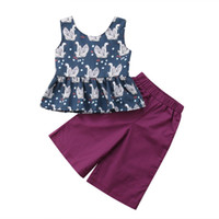 chaleco morado para niña al por mayor-2018 Cute Print Summer Kids Baby Girls Animal Chaleco Blue Top Long Purple Pants 2 piezas Conjunto de ropa