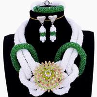 joyería de cristal blanco de la joyería fija al por mayor-4UJoyería Conjuntos de joyería africana Pendientes y collar Pulsera Blanco Búho verde Cristal Hecho a mano Nupcial Nigeriano Boda Joyería
