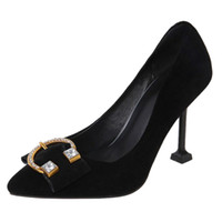 f07ef64088db Smilice 2018 Woman Faux Suede Pumps with Glass Heel and Pointed Toe Elegant  Working Chic Shoes with Large Size Available A225