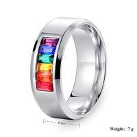 Wholesale titanium steel ring rainbow resale online - Europe mm fashoin Classic ring Rainbow fine titanium steel ring mix size