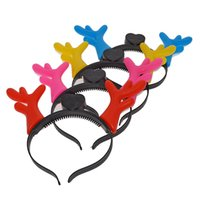 Wholesale light up headband christmas - 10pcs lot Cartoon Light Up Flashing Horns Head Wear Toys Christmas Children Toy Colorful Antler Led Headband Festival Supplies