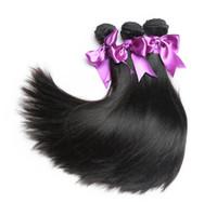 insan saçı örgü renk siyah toptan satış-2 adet Vizon Brezilya Düz Saç Örgü Demetleri 8-30 inç 100% İnsan Saç Demeti Fırsatlar Doğal Siyah Renk Bakire Saç Düz Demetleri