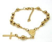 18k altın bileklik bilezikler toptan satış-Avrupa ve Amerika Birleşik Devletleri paslanmaz çelik topu bilezik İsa çapraz kolye altın kaplama moda vahşi titanyum çelik boncuk bilezik jewelr