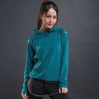 Wholesale wholesale hood t shirts - Autumn thin Women Running T Shirts Gym fitness Long Sleeves sweatshirts Quick Dry Training Breathable Hood Sports lady Clothing