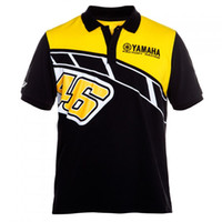 polos amarillos para hombre al por mayor-Polo de algodón para hombre de la motocicleta para el equipo Yamaha Racing Team 50 años de aniversario, camiseta negra con cuello de verano