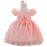 Wholesale baby first birthday clothing online - Newborn Summer Little Girls Clothes Dresses Infant Party and Wedding Year First Birthday Girl Baby Baptism Birthday Dress