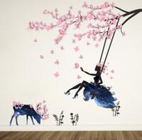 девушки бабочка спальня оптовых-Очаровательная романтическая Фея девушка стикер стены для детских комнат цветок бабочка любовь сердце наклейка на стену спальня диван украшения стены искусства