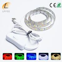 ingrosso cavo cavo bianco-USB 5V LED Strip 5050 TV Illuminazione di sfondo 0,5 1m 60 LEDs / m Warm White / Bianco / RGB Cavo USB con Switch Strip 1 Set
