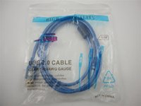 usb kablo mavi toptan satış-USB 2.0 Yazıcı Kablosu mavi 1.5 M veri kablosu yazıcı hattı yüksek kalite Ücretsiz kargo 100 adet / grup