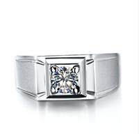 anéis de diamante tamanho 6.5 venda por atacado-Jateamento Processo Anel Para Os Homens 1ct Sintético Diamante Casamento Anel de Noivado de Prata Esterlina 18 K Banhado A Ouro Branco Homens Jóias Tamanho Grande