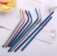 Wholesale 215mm mm Colorful Stainless Steel Drinking Straws Resuable Colored Straight Bent Straws Bar Hotel Bent Curved Drinking Straws for Coffee