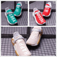 Wholesale womens chinese - 2018 New Human Race mens shoes Pharrell Williams green and red Womens hu Running shoes Chinese characters Peace Passion Happy Youth Sneakers