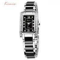 Wholesale Chinese Watches - KIMIO Rectangle Square Watch Women 2017 Luxury Brand Rhinestone Quartz Black Chinese Ladies Bracelet Watch Womens Wristwatch