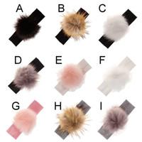 Wholesale hair designs headband online - 9 color baby girl headband imitation raccoon hair ball Design Children Headwear Kids Baby Hair Accessory