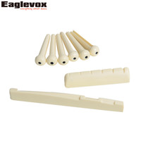Wholesale acoustic bridge pins - Wholesale- 6pcs ABS Plastic Bridge Pins + ABS Acoustic Guitar Saddle Nut