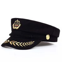 Wholesale wool beret black - VORON 2017 new High Quality Student Cap Men Women Cadet Hat Wool Flat Top Black Army Sailor Hat Unisex Retro Beret Octagonal Cap