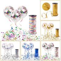 şerit saten dekorasyon rulo toptan satış-Altın Konfeti Balon Düğün Doğum Günü Balonlar Parti Dekorasyon Balonlar 100 metre Saten Kurdele Curling Şerit Rulo
