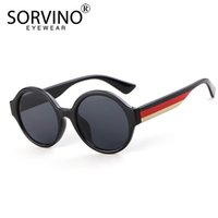 солнцезащитные очки оттенки синие оптовых-SORVINO Retro Oversized Stripe Round Sunglasses Men Women  Designer Big Yellow Blue Circle Sun Glasses Shades SP157