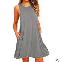 klasik desen elbise toptan satış-Yeni tasarım kolsuz parti elbise sevimli küçük cep plaj elbise moda A-LINE S-XXL ile rahat yaz elbise