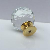 manijas de cristal dorado al por mayor-Tirador de puerta de gabinete de tocador de cristal de alto grado Tiradores de forma esférica Tirador de base de oro de orificio único redondo 2 25zh jj