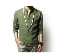 ingrosso camicie di lino estivo-Camicia estiva in misto cotone verde kaki misto camoscio collo traspirante Comfy tradizionale stile cinese popover Henley camicie per uomo