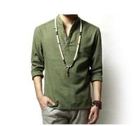 camisa tradicional colar chinês venda por atacado-Verão Dos Homens De Linho De Algodão Verde Cáqui Misturado Camisa Gola Mandarim Respirável Confortável Estilo Tradicional Chinês Popover Henley Camisas Para Os Homens