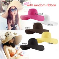 Summer Hats Womens Foldable Wide Large Brim Beach Sun Hat Straw Beach Cap  Ladies Elegant Hats Girls Vacation Tour Hat W ribbons 6819ea0fad33