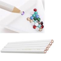 Wholesale waxing wood - DIY Nail Art Dotting Tools Rhinestones Gems Picking Crystal Dotting Pen Wax Pencil wood Pen Picker
