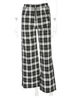 calças pretas brancas estampadas venda por atacado-calças quentes novas mulheres explosão modelos preto e branco padrão da manta do houndstooth soltas calças retas das mulheres das mulheres