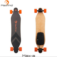 ingrosso singolo skateboard-Maxfind skateboard elettrico tavola lunga a quattro ruote con telecomando wireless a motore singolo da 600W