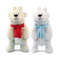 Wholesale Plush Bear Backpack - Candice guo! cute plush toy lovely scarf polar bear backpack bag schoolbag girls boys kindergarten birthday Christmas gift 1pc