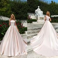 Wholesale simple elegant gowns - 2018 new elegant stain vestidos de fiesta A-Line Wedding Dresses with crystal waist design custom made court train bateau bridal gowns