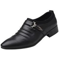 ingrosso abito formale maschio per il matrimonio-Nuovi uomini britannici slip on split in pelle scarpe da uomo a punta scarpe da uomo business oxford scarpe formali per uomo 2018 38-47
