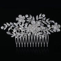 kristal düğün tarakları toptan satış-2019 Gerçek Zamanlı sınırlı Saç Combs Yuvarlak Feis Toptan Moda Kristal Yaprak Ve Çiçek Gelin Saç Dekorasyon Pins Düğün Aksesuar Hotsale