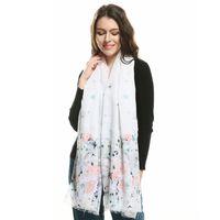 471949d69e Élégant De La Mode Femmes Longue Voile Légère Écharpe Floral Motif Blanc  Couleur Châle Wraps Couleur Panneaux Hijab Étoles Drop Shipping