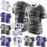 Wholesale frog custom - Custom TCU Horned Frogs College Football Any Name Number White Gray Purple Personalized 2 Trevone Boykin 2 Jason Verrett Jerseys S-3XL