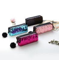 Wholesale black hair fashion online - 2018 Fashion Mermaid Sequin Outdoor Sports Hand Bag Sequins Coin Purse Key Case With Hair ball CCK2